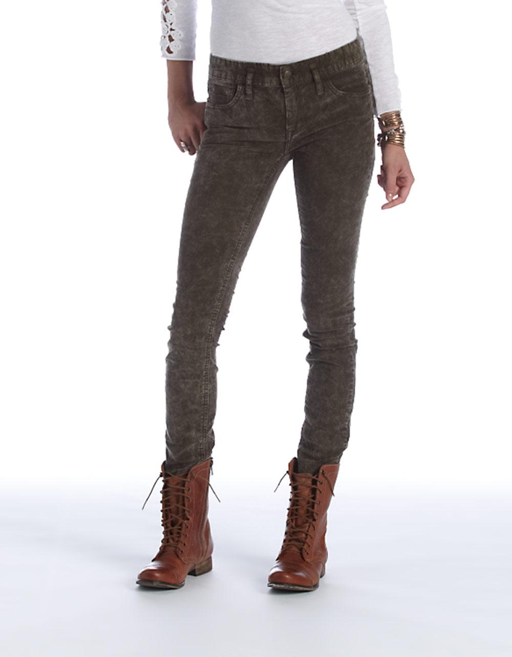Free people Skinny Corduroy Jeans in Green   Lyst