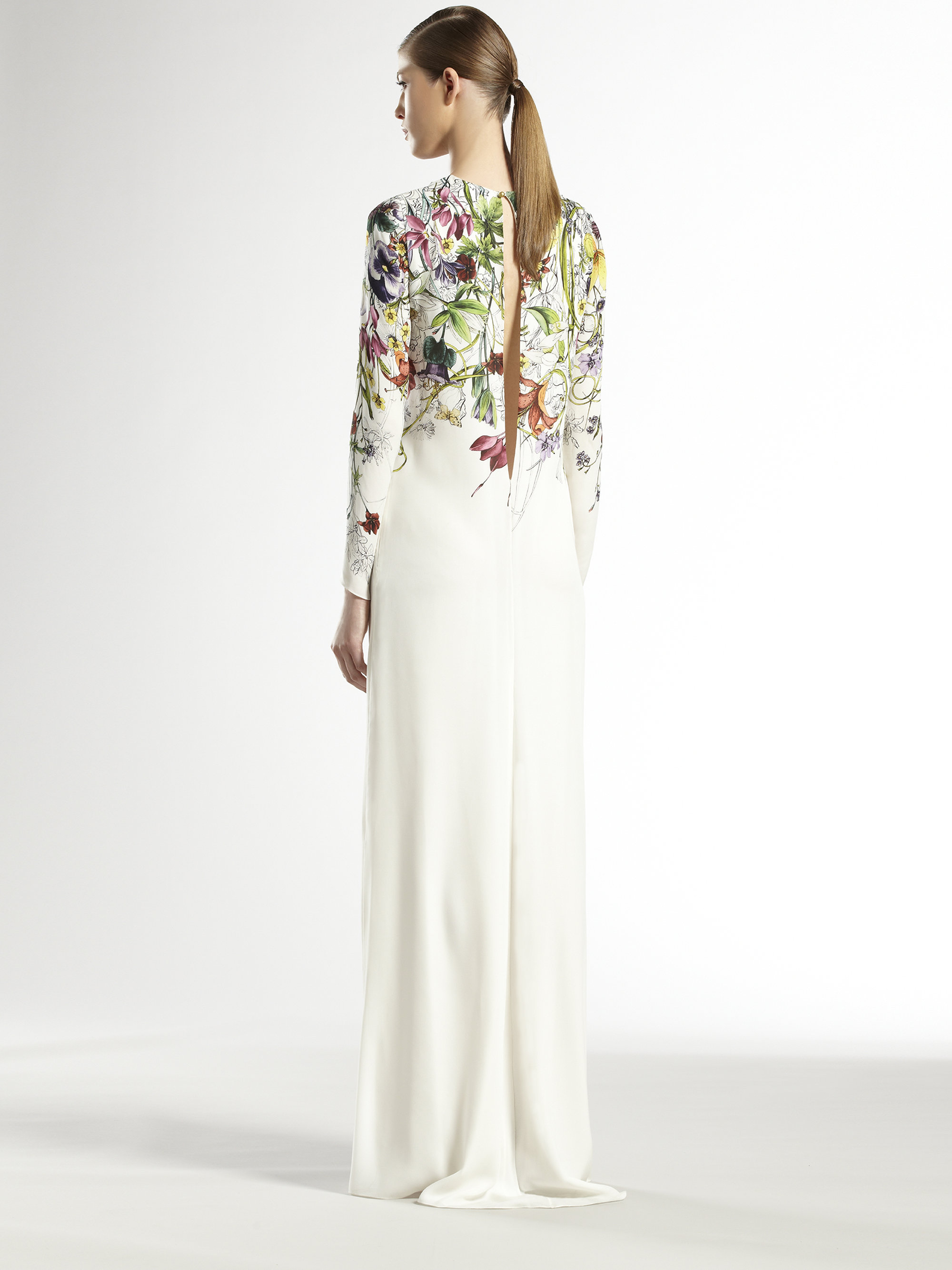 Lyst - Gucci Silk Flora Infinity Gown in White