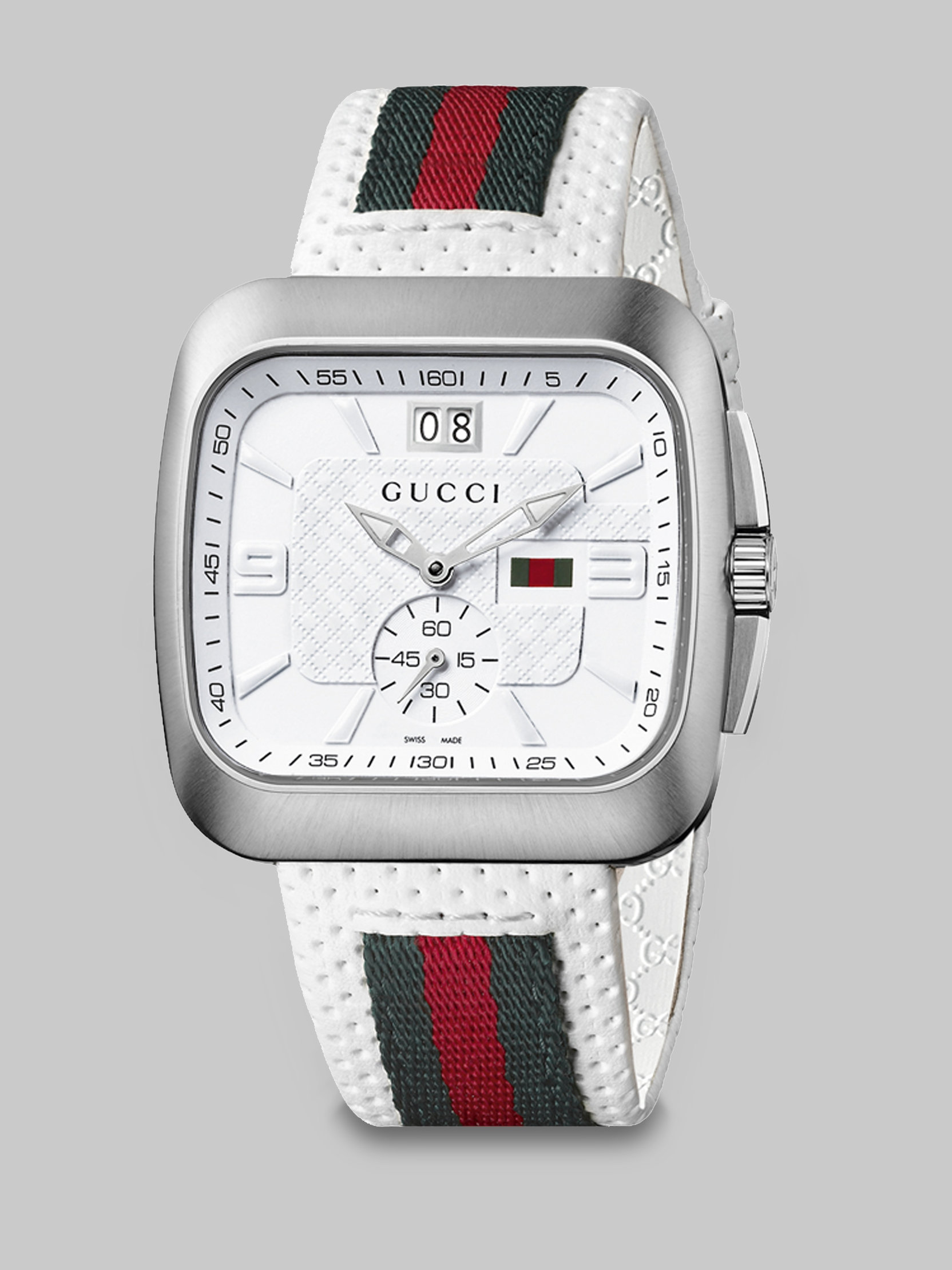 4b67e188af0 Lyst - Gucci Square Web   Leather Strap Watch in White