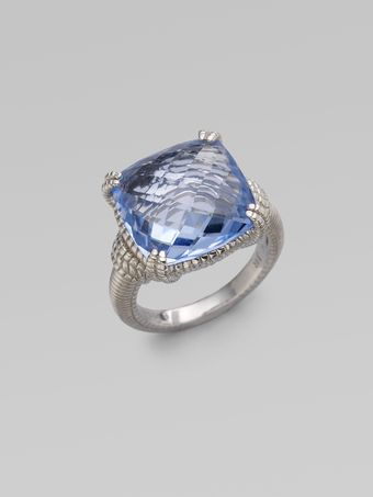 Judith Ripka Blue Quartz Sterling Silver Cushion Stone Ring - Lyst