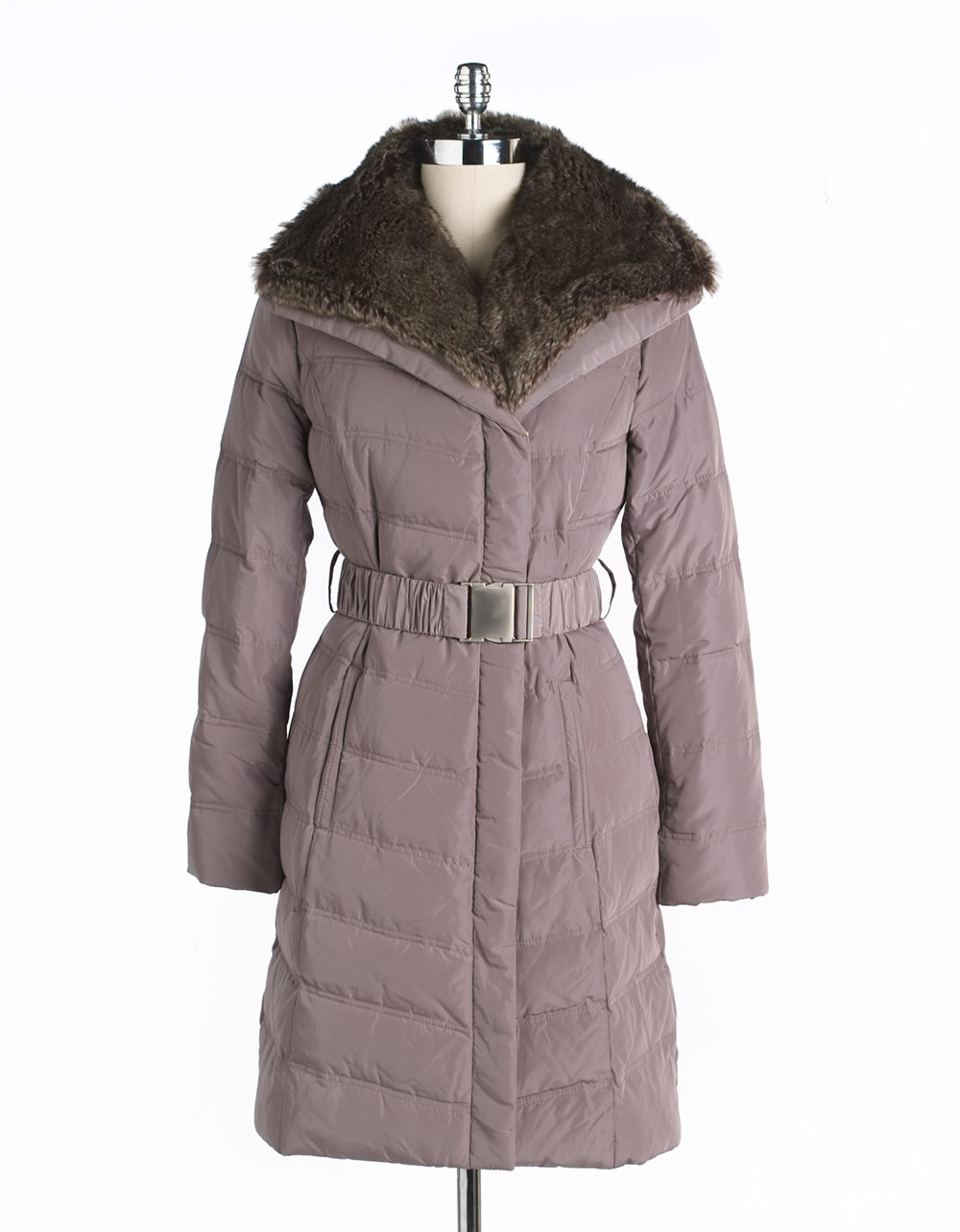 Kenneth Cole Reaction Faux Fur Hood Quilted Coat In Gray