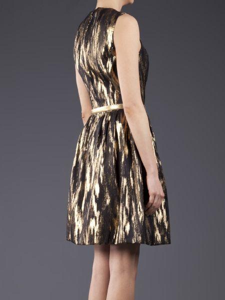 Michael Kors Sleeveless Metallic Dress In Gold Black Lyst