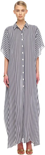 Michael Kors Striped Georgette Maxi Shirt Waist Caftan in White (midnight/opt whit) - Lyst