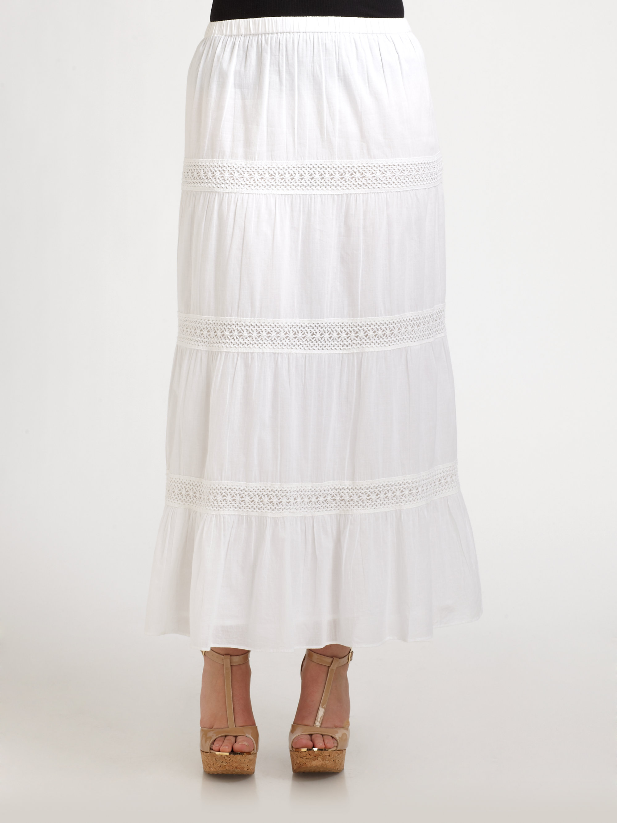 bfb665caf7 MICHAEL Michael Kors Tiered Cotton Maxi Skirt in White - Lyst