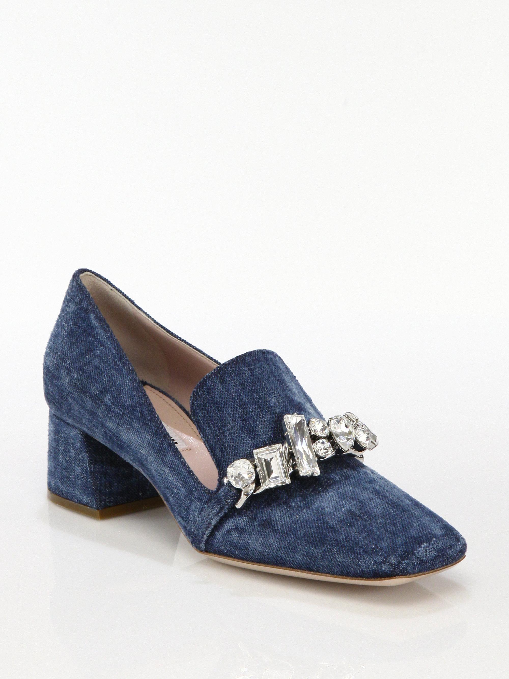 31f75e67d00 Lyst - Miu Miu Jeweled Denim Loafer Pumps in Blue