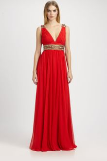 Notte By Marchesa Beaded Silk Chiffon Gown - Lyst