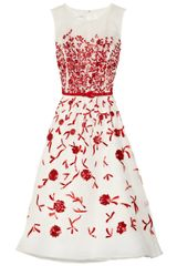 Oscar de la Renta Embroidered Silkorganza Dress