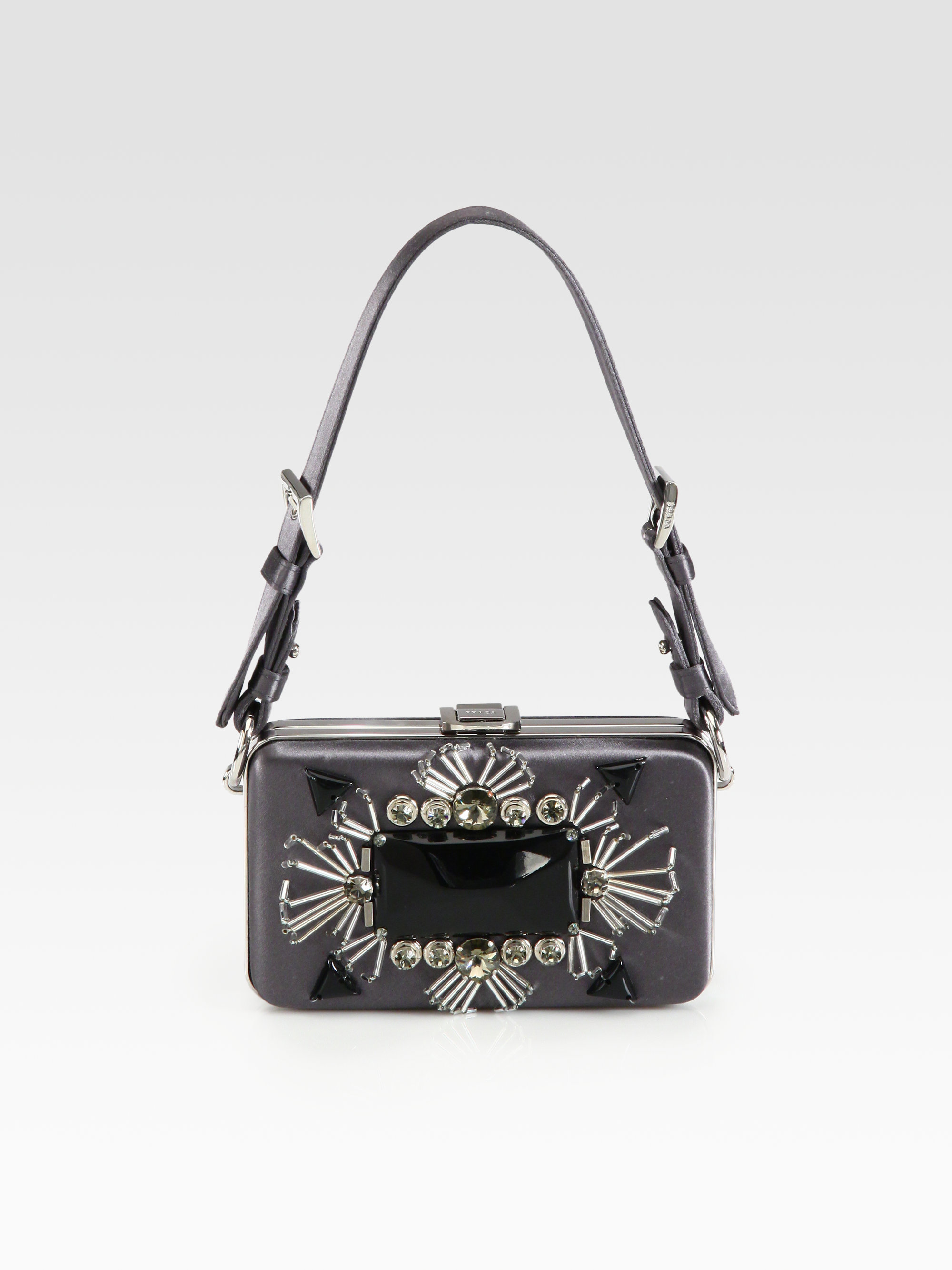 Prada Satin Box Clutch in Gray (anthracite) | Lyst