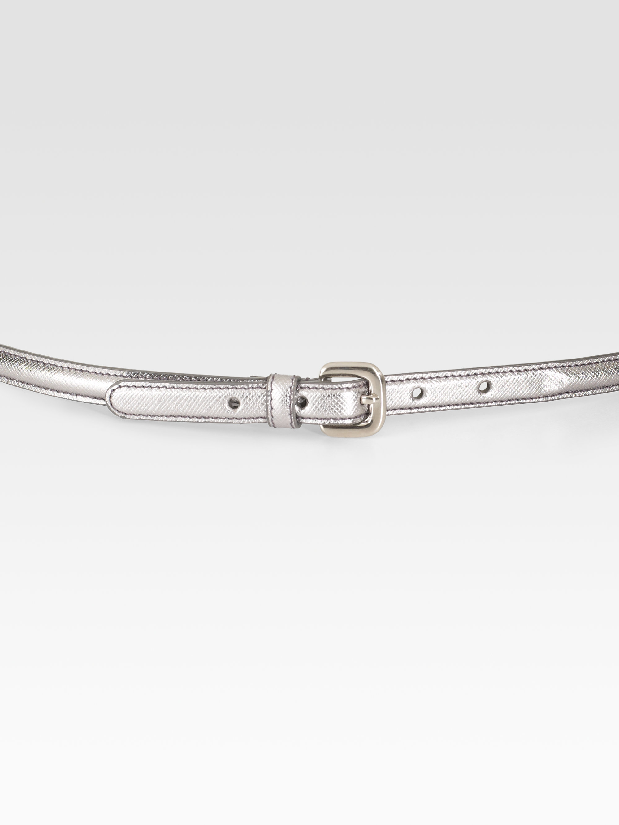 Prada Saffiano Leather Bow Belt in Silver | Lyst