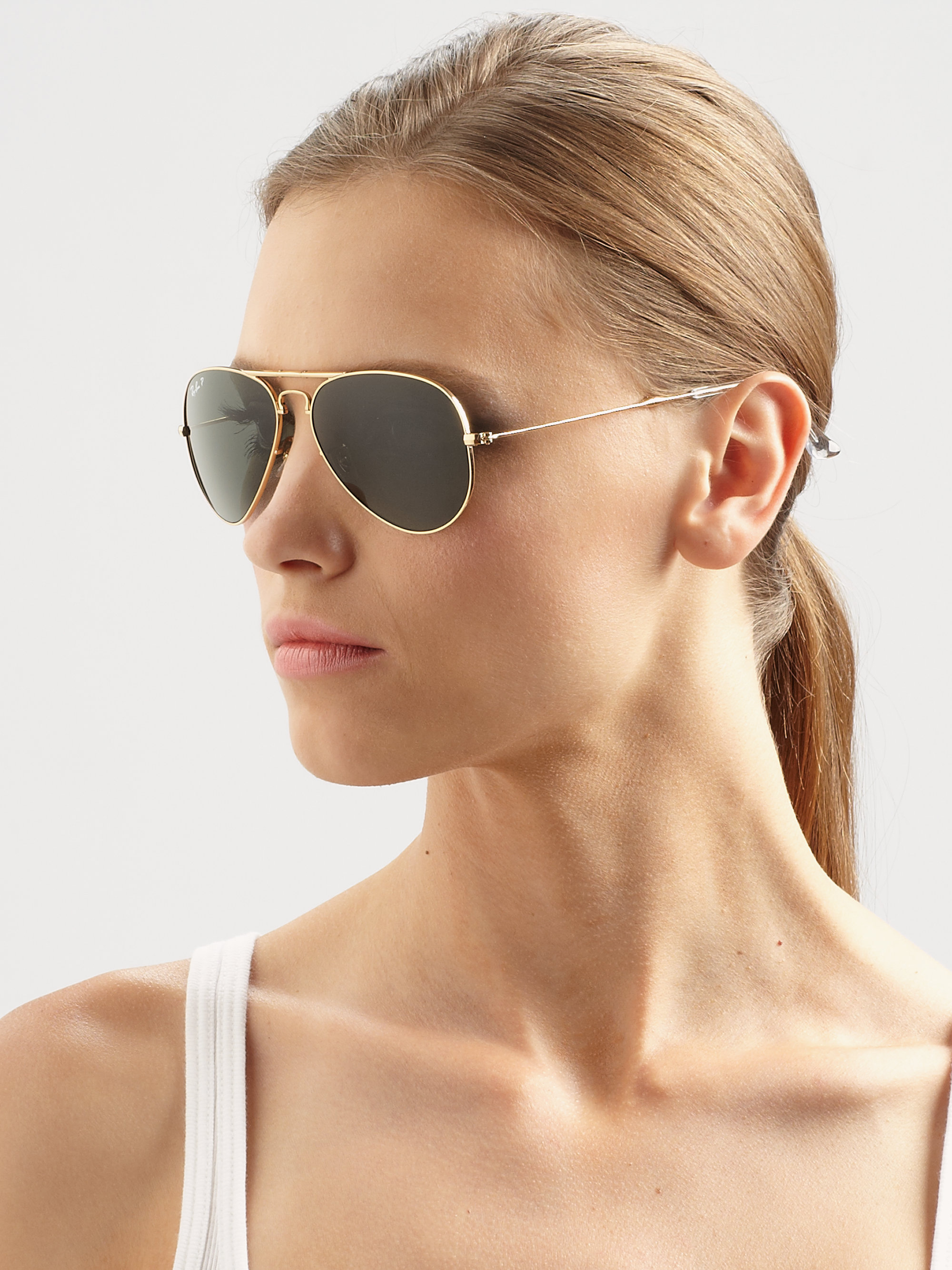 Ray Ban Metal Aviator Sunglasses  ray ban metal folding aviator sunglasses in metallic lyst