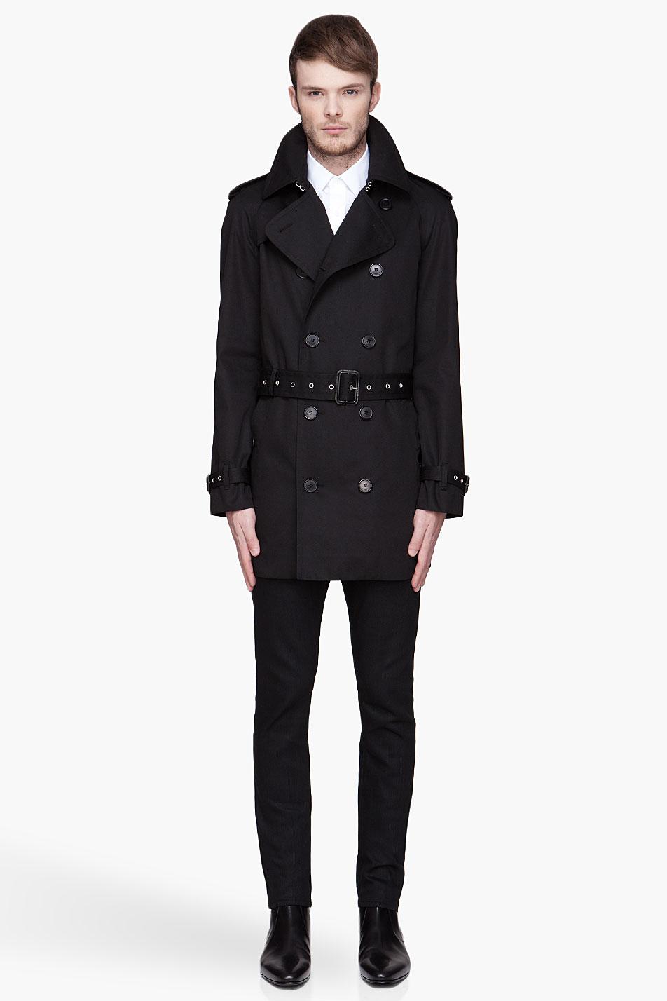 Saint laurent Black Short Trench Coat in Black for Men | Lyst