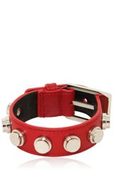 Saint Laurent Studded Leather Small Cuff Bracelet - Lyst