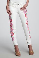 Theory Floralprint Skinny Jeans in White (8) - Lyst