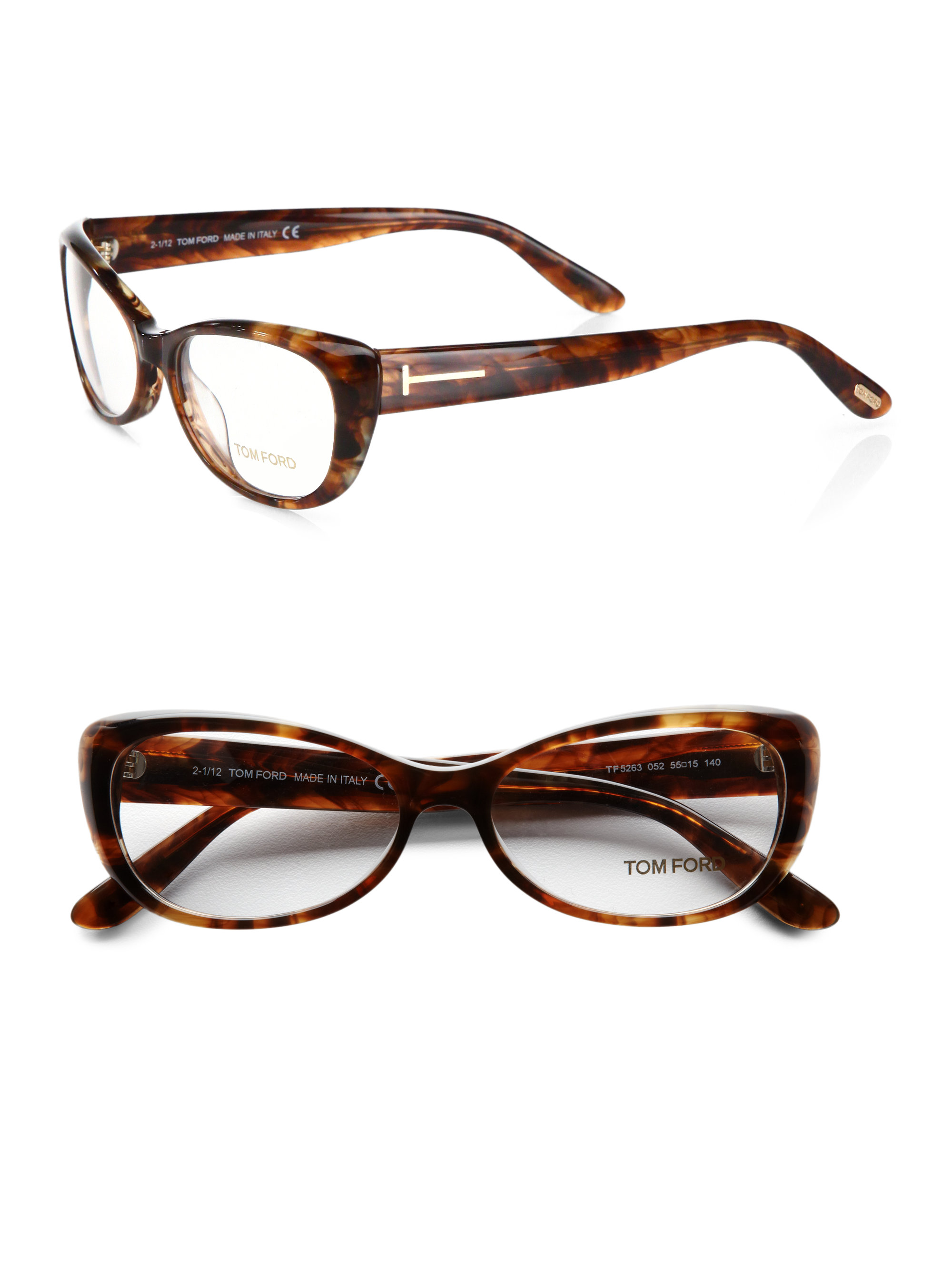 8e5bb281b27 Lyst - Tom Ford Small Rectangular Plastic Eyeglasses in Brown
