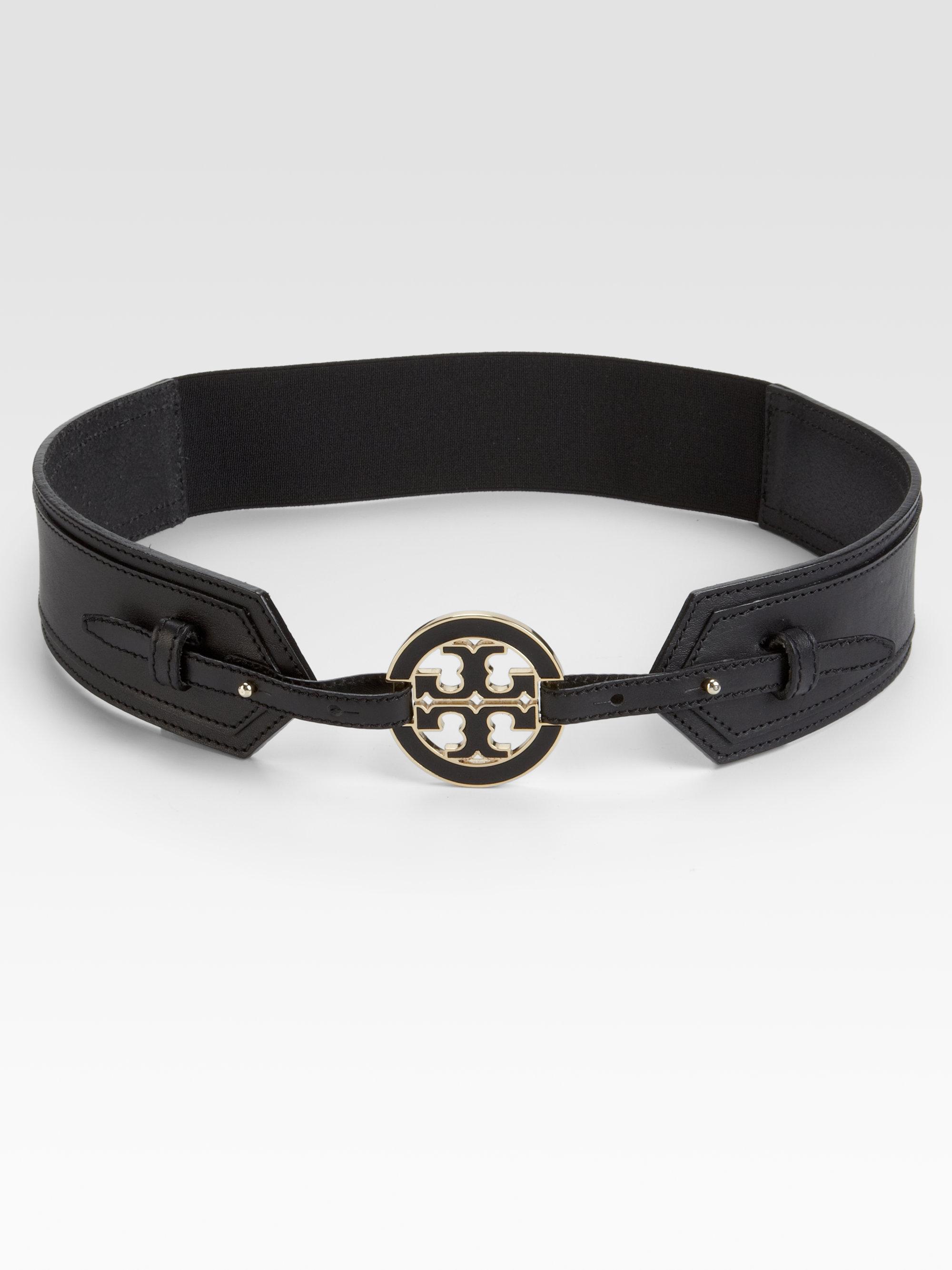 burch stretch leather elastic logo belt in black lyst