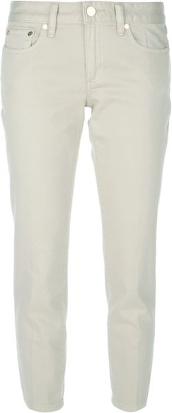 Tory Burch Cropped Jeans in Green - Lyst