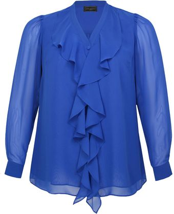 Ann Harvey Bright Blue Waterfall Front Blouse - Lyst
