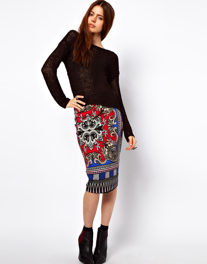 Asos Collection Asos Peplum Top In Sequin In Natural: Asos Collection Pencil Skirt In Scarf Print In Multicolor
