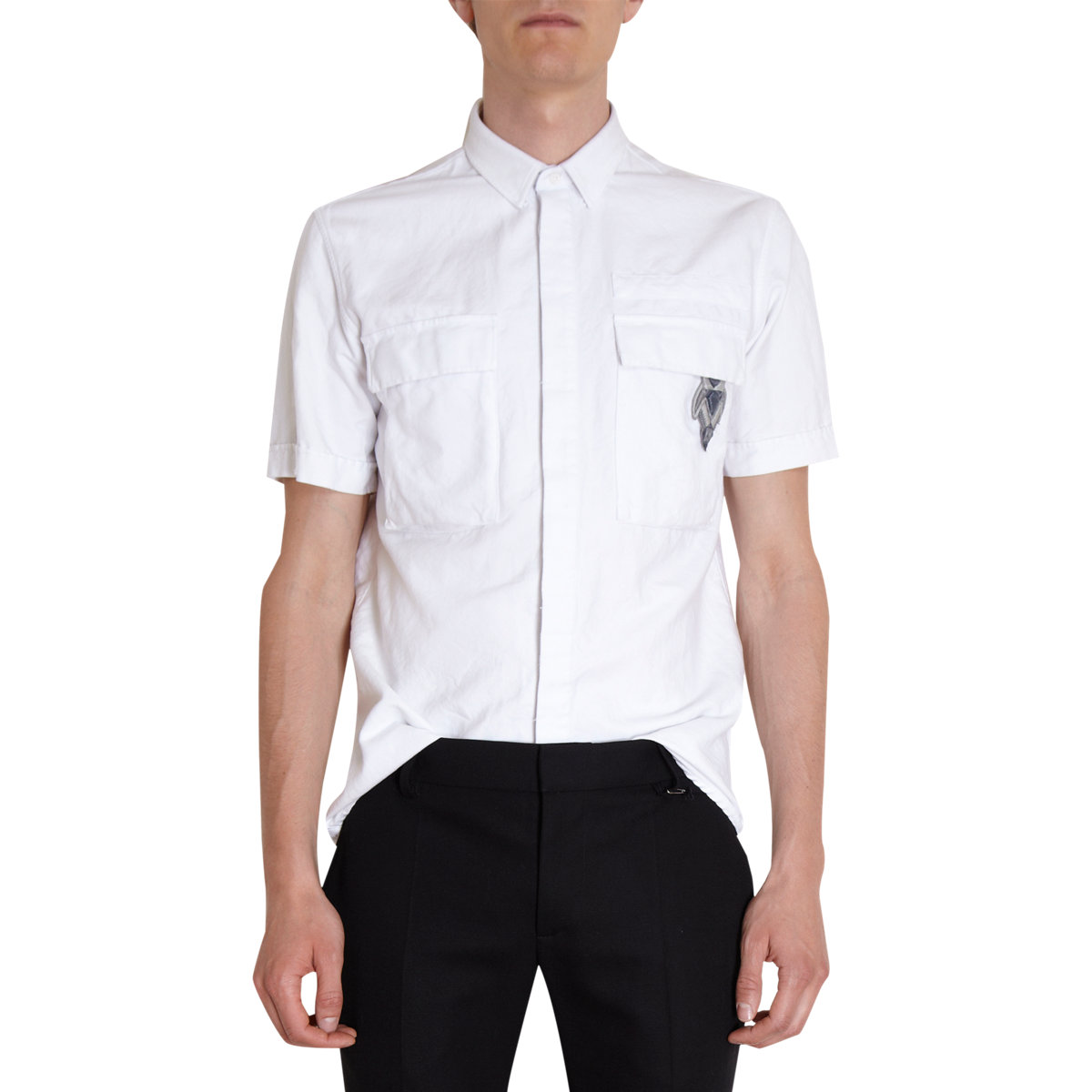 Lyst balmain short sleeve military patched shirt in for White military dress shirt