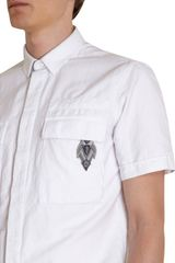 Balmain Short Sleeve Military Patched Shirt in White for Men - Lyst