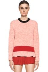 Chloé Cashmere Color Block Rib Sweater in Coral Red Navy - Lyst