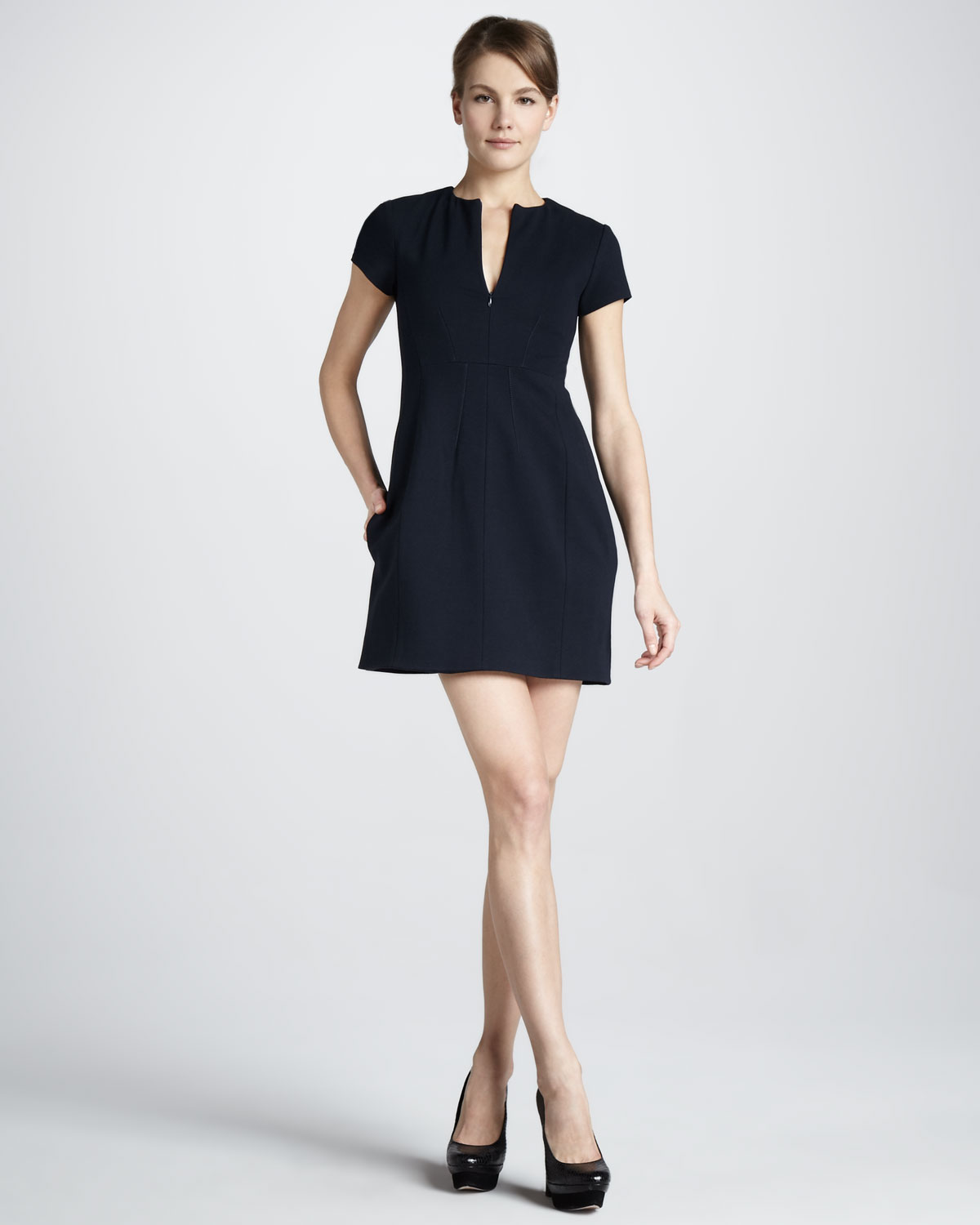 Dvf Perry Structured Flare Dress View Fullscreen