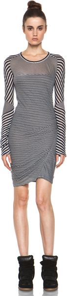 Etoile Isabel Marant Easton Super Light Jersey Striped Dress in Charbon in Black (white)