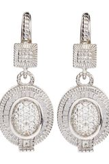 Judith Ripka White Sapphire Oval Pave Drop Earrings - Lyst