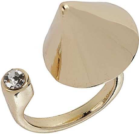 Topshop Oversized Spike Ring in Gold (clear)
