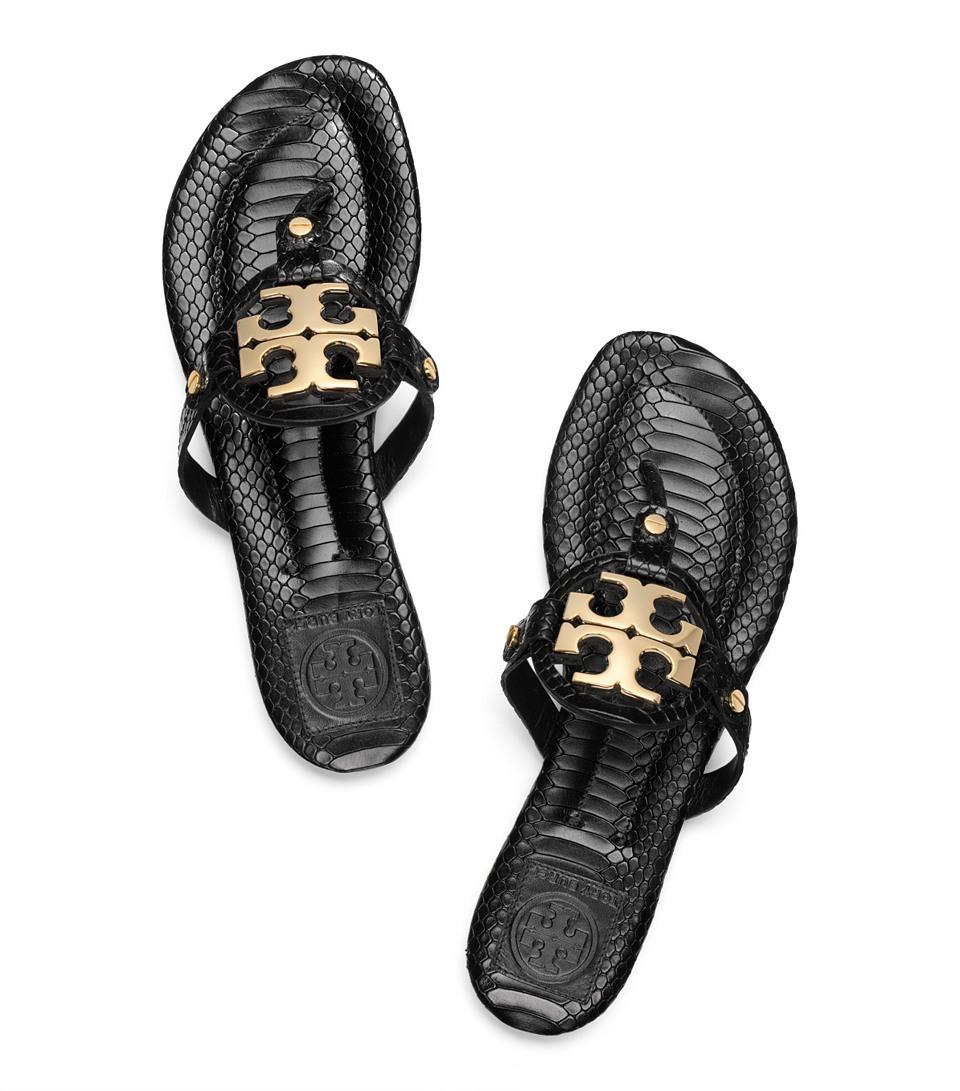 46da40b8f2f09c Lyst - Tory Burch Snake Print Miller 2 Sandal in Black