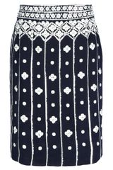 Tory Burch Embroidered Print Skirt - Lyst