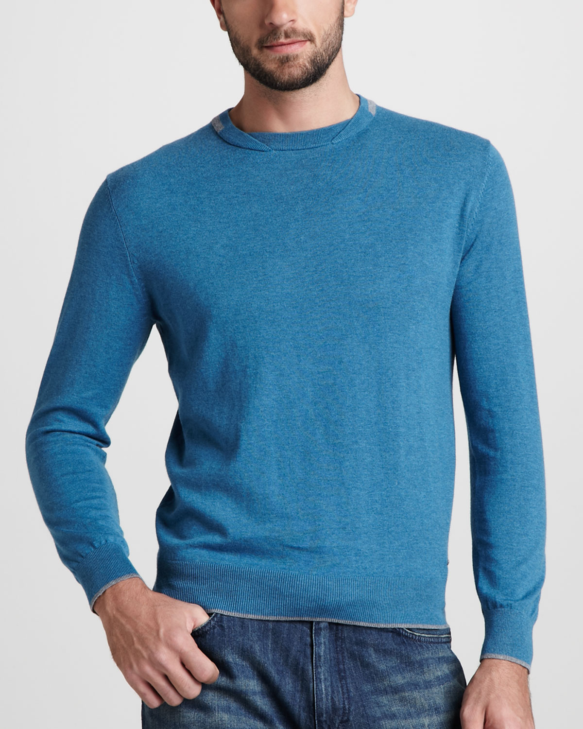 abbe1154d4080 Lyst - Zegna Sport Crewneck Knit Sweater Teal in Blue for Men