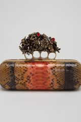Alexander McQueen Python Knuckle Box Clutch Bag - Lyst