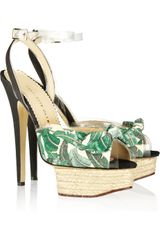 Charlotte Olympia Printed Canvas Sandals - Lyst