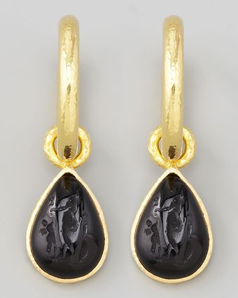Elizabeth Locke Black Intaglio 19k Gold Teardrop Earring Pendants - Lyst