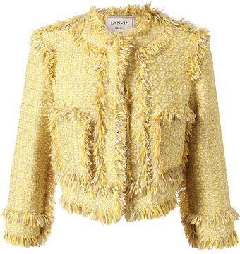 Lanvin Fringed Cottonblend Tweed Jacket - Lyst