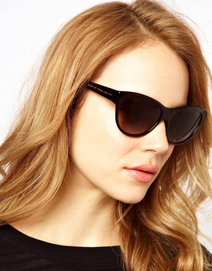 Lyst - Marc By Marc Jacobs Dark Havana Cat Eye Frame Sunglasses in Brown 48f2ffcd10