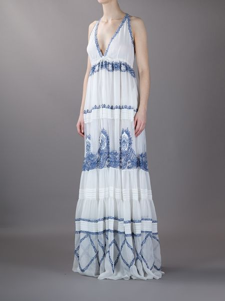 Roberto Cavalli Print Panel Dress In White