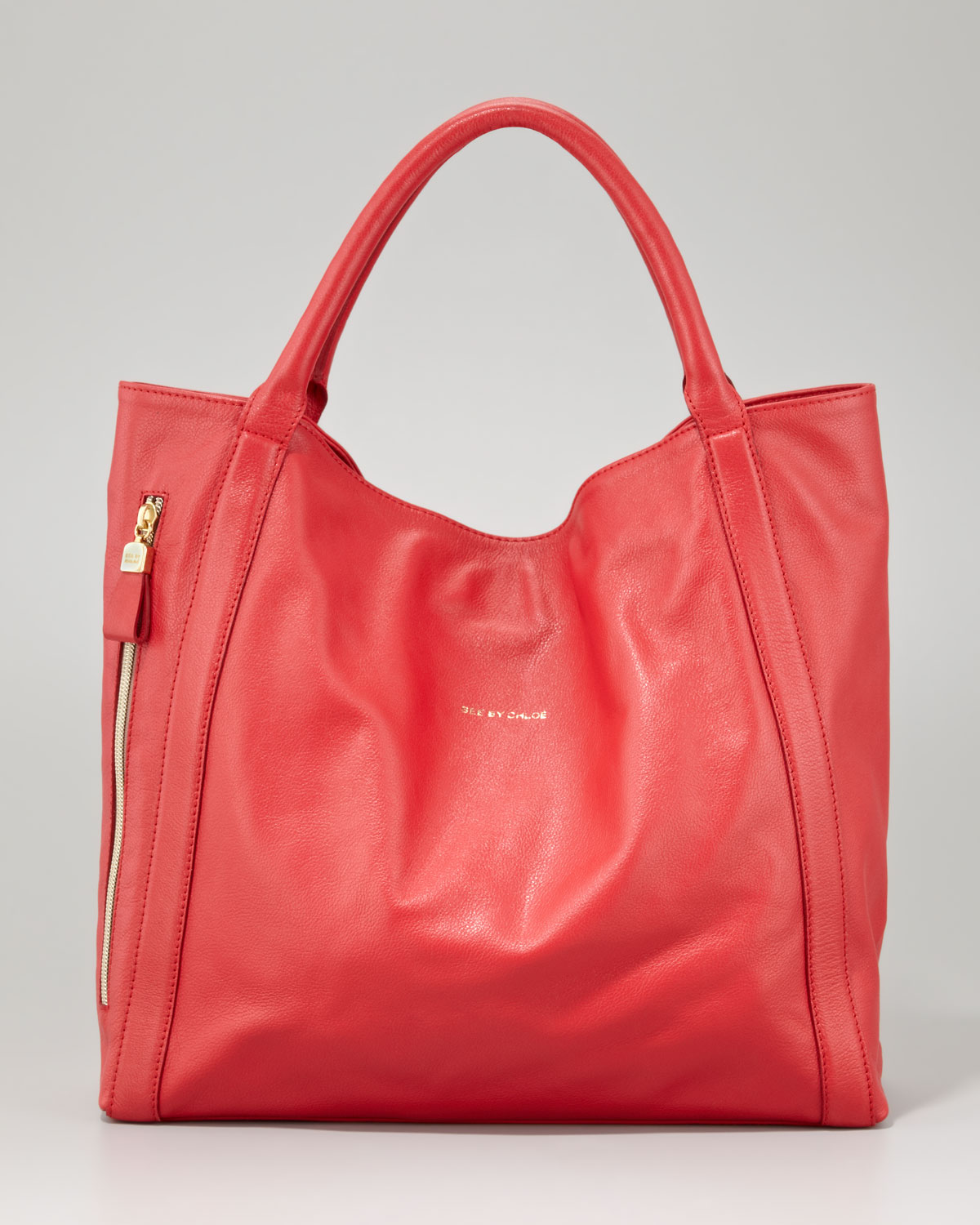 See by chloé Harriet Leather Tote Bag in Red | Lyst