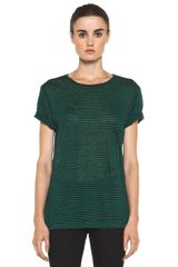 T By Alexander Wang Linen Stripe Tee in Ink Vine - Lyst