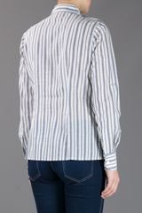 Tory Burch Contrast Stripe Shirt in Gray (grey) - Lyst