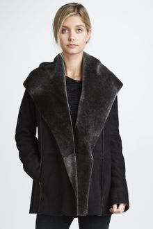 Vince Hooded Coat with Shearling Lining - Lyst