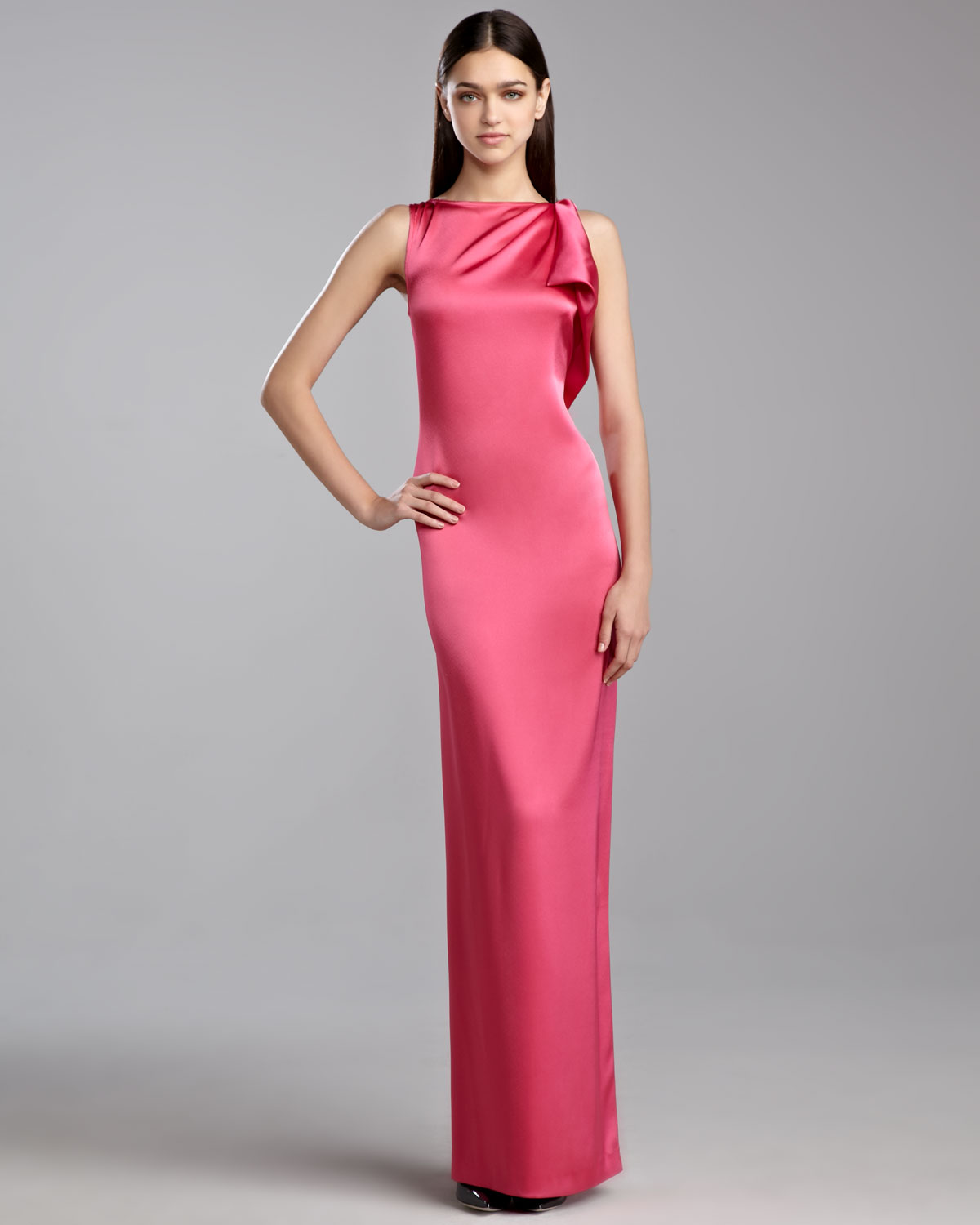 Satin Dressing Gown: St. John Liquid Satin Drape Gown In Pink
