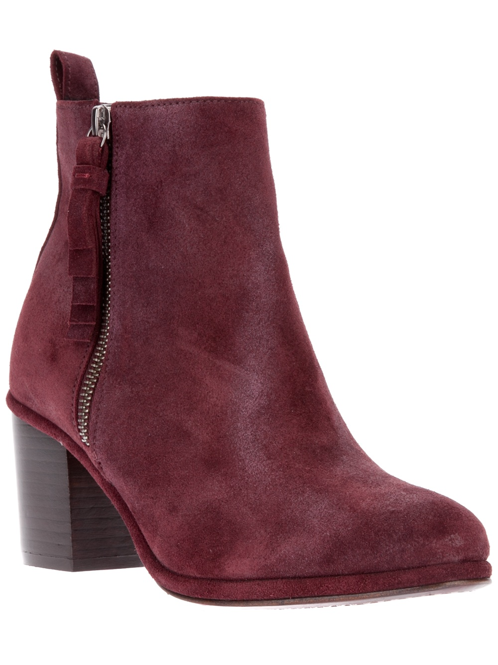 opening ceremony suede chunky heel ankle boot in purple