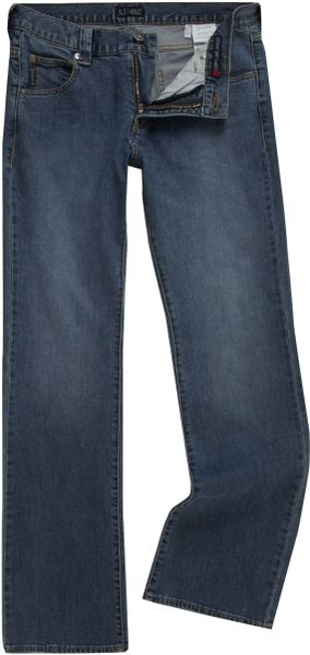 armani jeans j05 boot cut light wash jeans in blue for men. Black Bedroom Furniture Sets. Home Design Ideas