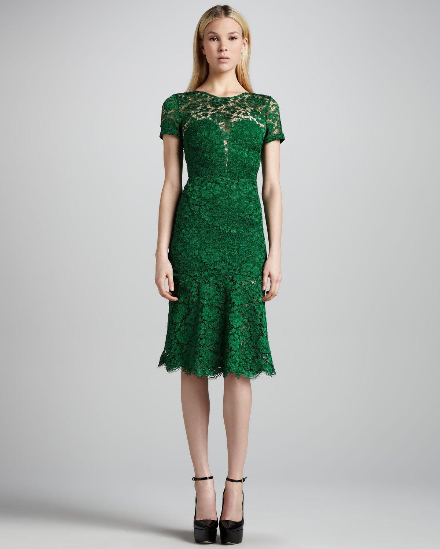 Burberry Prorsum Cutoutback Lace Dress In Green