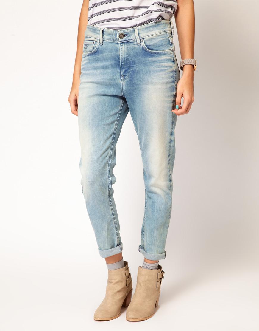 star raw gstar boyfriend jeans in blue lyst. Black Bedroom Furniture Sets. Home Design Ideas
