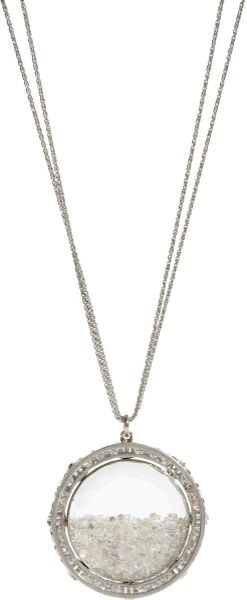 Renee Lewis White Diamond Shake Pendant Necklace in Silver (white) - Lyst
