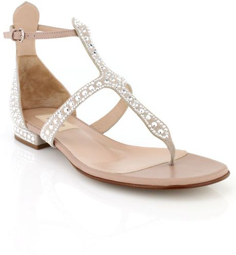 Valentino Poudre Crystal Thong Sandal In Beige Lyst
