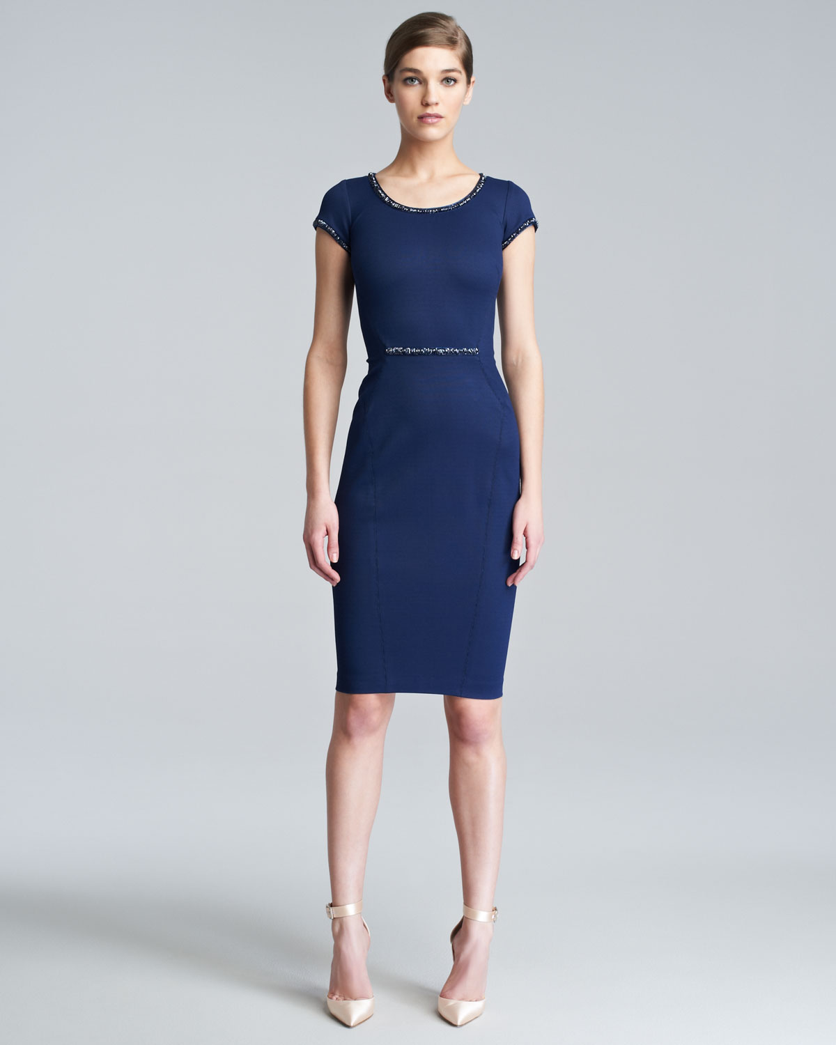 Zac posen Fitted Capsleeve Dress in Blue | Lyst
